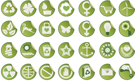 Set of icons. Set of green icons with different themes.  イラスト・ベクター素材