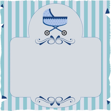 car ornament: Paper invitation with stripes and baby buggy. Textured paper with stripes and baby buggy. For use on bottom or invitations or decorations.