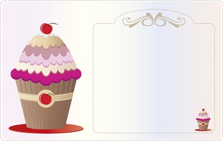 Paper invitation with ornaments and illustrated with a cupcake. For use on background and invitations or decorations.  イラスト・ベクター素材