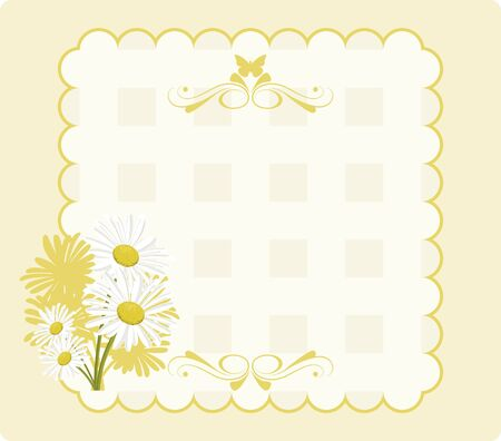 Paper invitation in shades yellow with daisies and a butterfly and ornaments