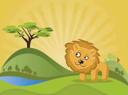 Lion in the forest. A lion walking through the woods and looking at a tree that is far