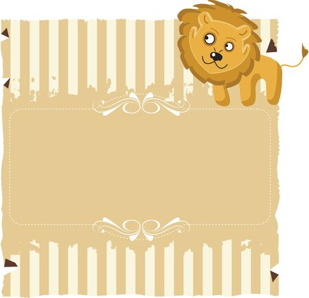 Paper with stripes and a Lion. Stripes and textured paper with a drawing of a lion. For use on bottom or invitations or decorations.