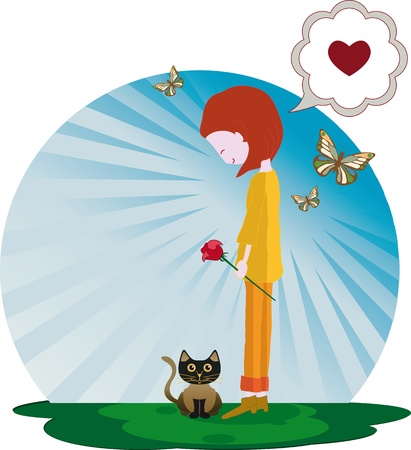 Happy girl with her Kitten and holding a rose On his return butterflies A heart balloon