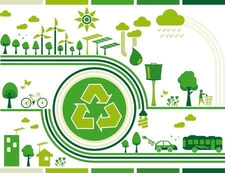 sostenibilit�: Illustrazione sostenibilit� contenente diversi elementi di sostenibilit� per una vita ecologica e ancora il centro del simbolo di riciclo