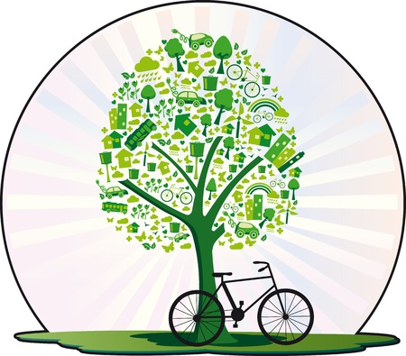 even: Ecological tree  Tree containing several elements for a living environmentally friendly and even a bicycle