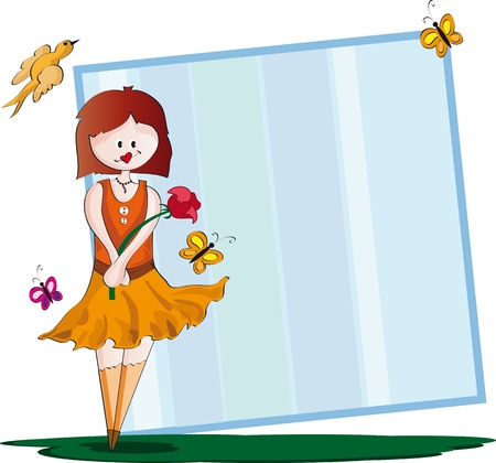 Frame girl Frame containing girl holding a flower and butterflies and even a bird