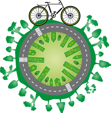 Green world and bike  World city with green trees and a bycicle on a bike path