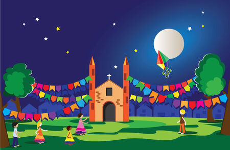Typical festival in brazil june and july party Illustration