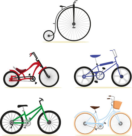Five different models of bikes