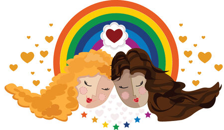 Girlfriends in the background a rainbow and hearts Illustration