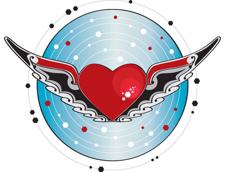 Flying heart  Heart with wings and decorated with a blue background