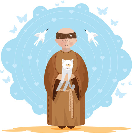 St  Francis of Assisi with a white kitten in her lap  Blue background with hearts, butterflies and birds