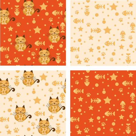 Pattern Cats whit fish