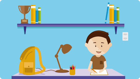 Boy studying at a desk with bookcase and books Illustration