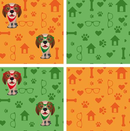 Pattern dog with glasses Illustration