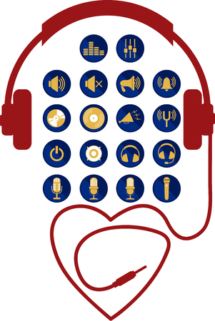 Set with icons and sound a headset wired heart shape
