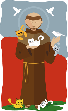 San Francisco de Assisi with many kittens Illustration