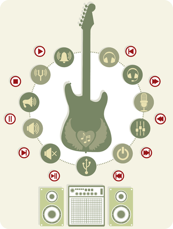 tuning fork: Set with icons and sound a guitar
