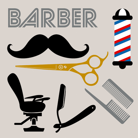 Barber related icons set  イラスト・ベクター素材