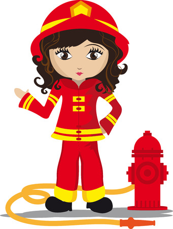 borne fontaine: Fille de pompier avec bouche d'incendie et flexible