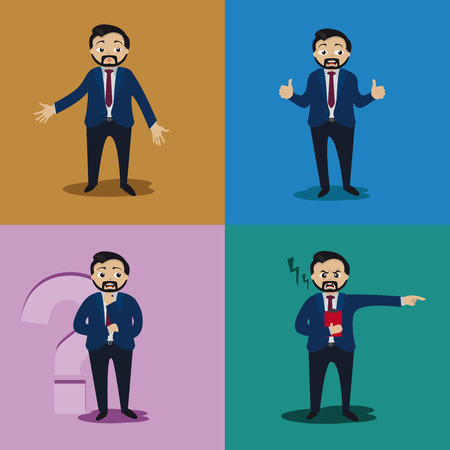 Four men with different expressions and gestures of the administrative world.