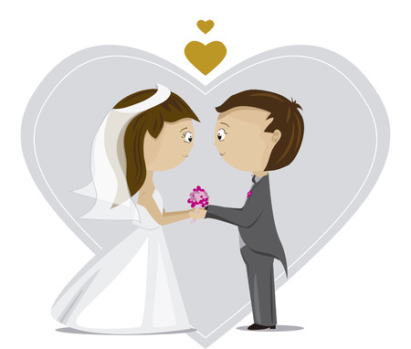 Grooms - couple dressed for the wedding Illustration