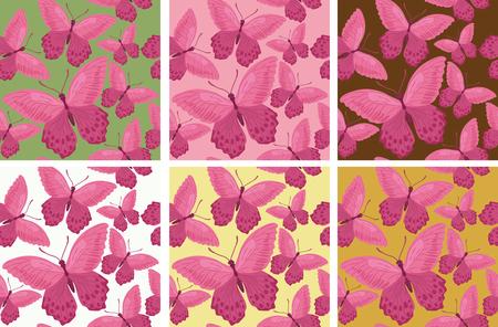 Pattern with beautiful butterflies