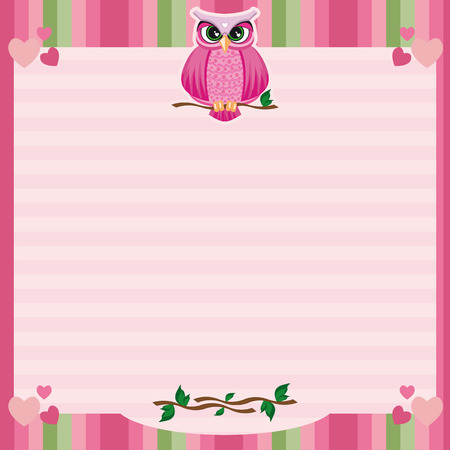Frame with owl for use on invitations, funds or decoration.