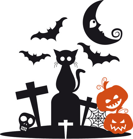 Halloween with black cat on top of the grave with bats