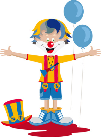 The clown with his bugle, a hat and balloons