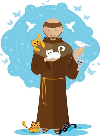 San Francisco de Assisi with many kittens Stock Illustratie