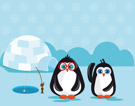 Two penguins fishing near an igloo and ice crystals