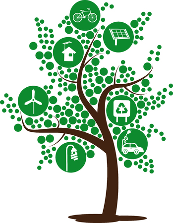 Illustration containing Several elements of sustainability for the living environmentally friendly Illustration