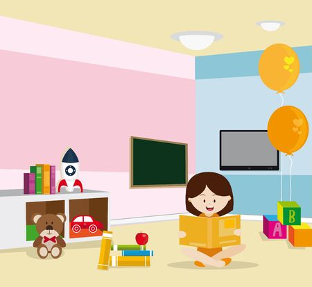 Girl reading sitting on the floor in a room with toys Several