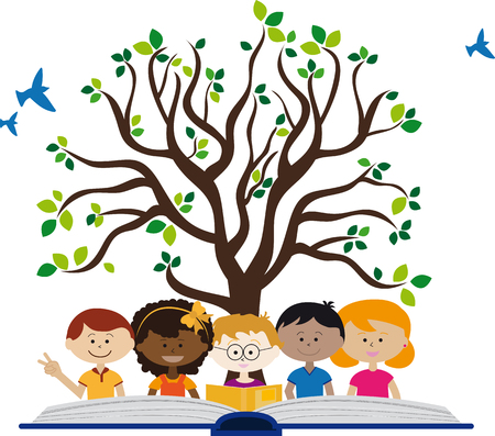 Children with an open book and a tree of wisdom.