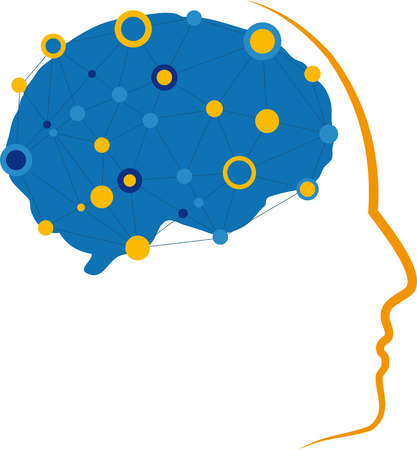 Illustration of brain with neural connections and a profile. Illustration
