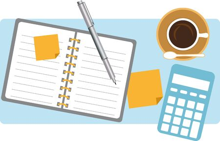 Table top view with coffee and a calculator Illustration