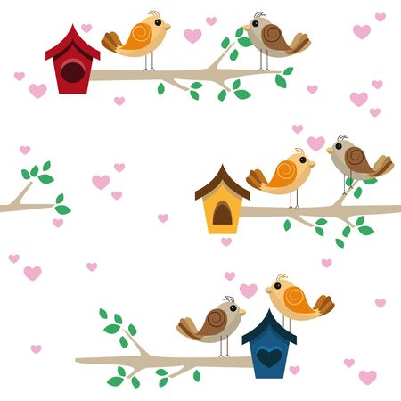 Birdies dating on a branch with a little house
