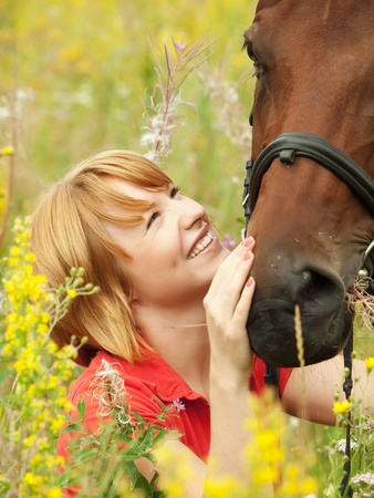 portrait of young girl  with her horse Stock Photo