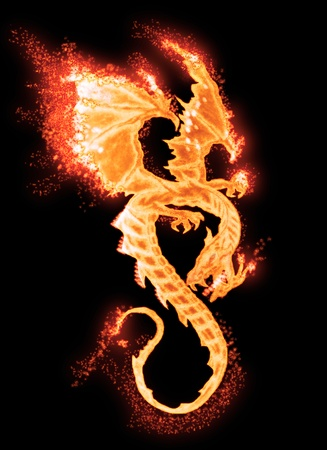 dragon fire: burning dragon isolated