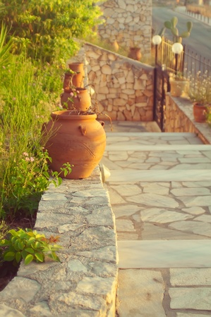 kefalinia: decorative pots on stairs,Greece Stock Photo