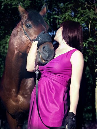 pretty women with beautiful horse Stock Photo - 12145227