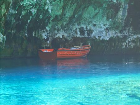 kefalinia: blue cave Mellisani in Kefalonia, Greece Stock Photo