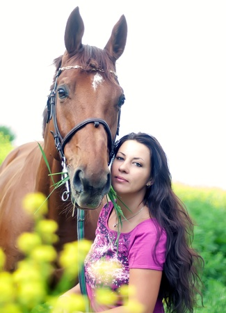 pretty women with own horse photo