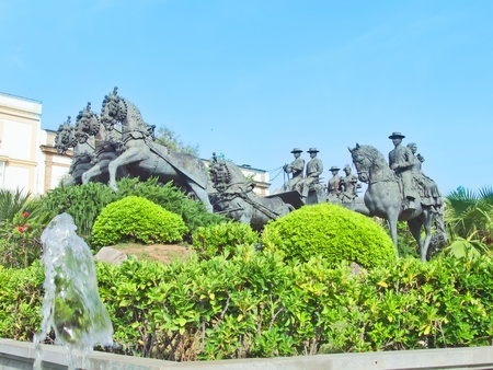 statue of carriage spanish horses in Jerez da la Frontera  Andalusia, Spain sunny day