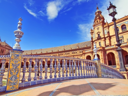 seville: Bridge in Plaza de Espana, Seville, Spain  Stock Photo
