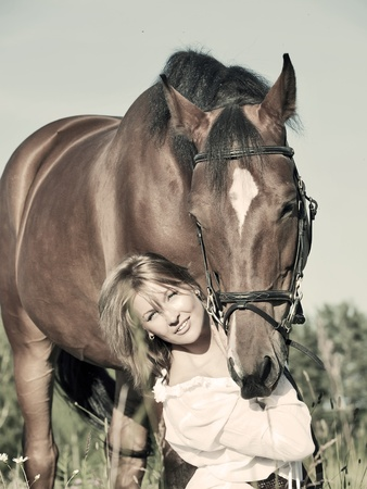 nice girl  with horse art toned photo