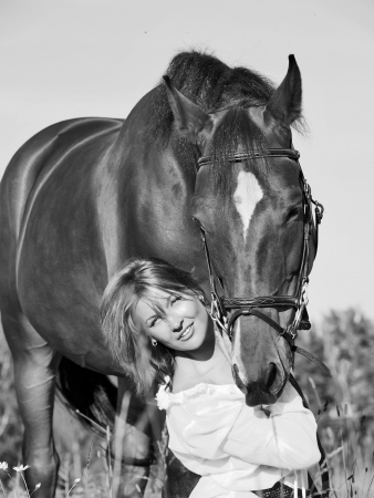 young beautiful girl  with horse in W B