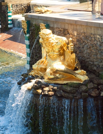Grand Cascade Fountains At Peterhof Palace, St. Petersburg, Russia. sunny day