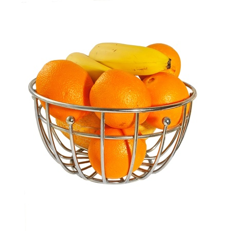 Metal  basket with orange fruits isolated on a white background Stock Photo - 14731893